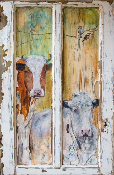 Houtenpaneel – koeien