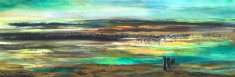 Olieverf op doek. 40×120 cm